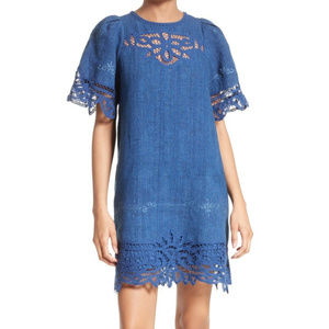 Sea New York Battenburg Blue Lace Linen Dress Sz 6